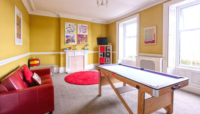 Games room at The Old Vicarage, Ironville